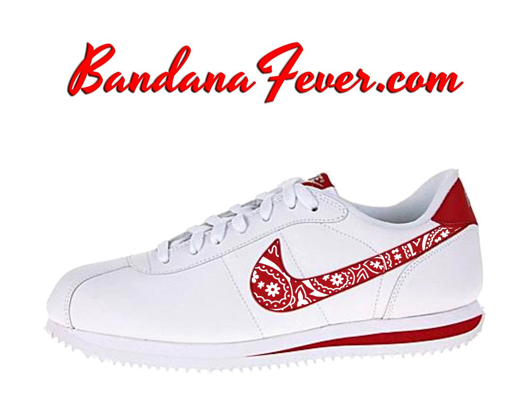 info for 135be 28a4b Custom White Bandana Nike Cortez Leather White Red,  paisley, by Bandana  Fever