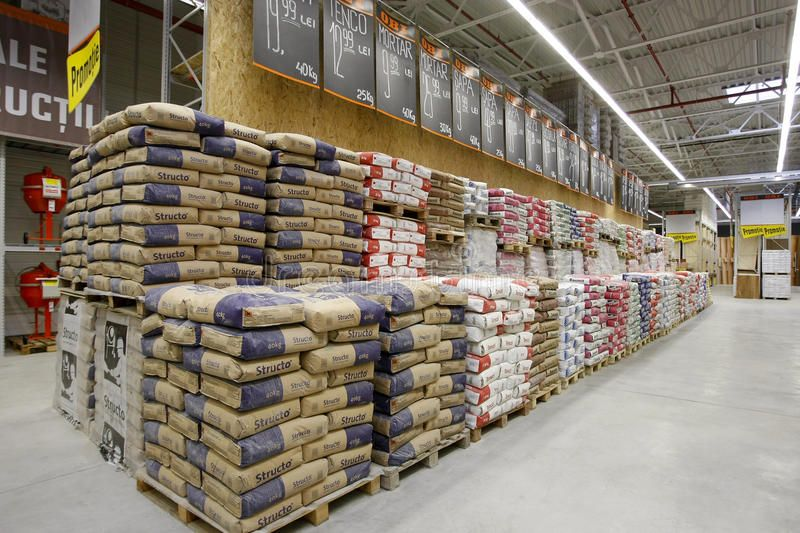 Building Materials Store Stacks Of Cement Bags And Construction