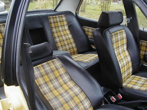 I like the idea of sprucing up the car interior with a pop - Burberry fabric for car interior ...