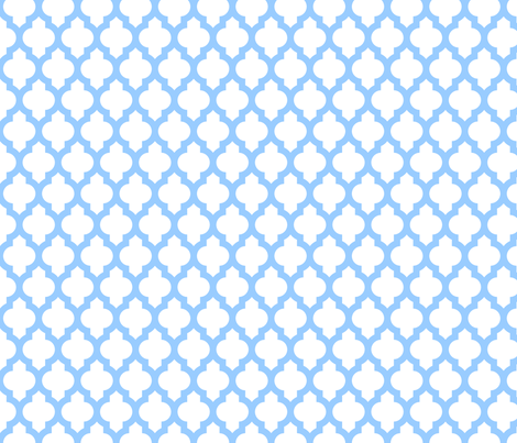 Quatrefoil Lattice Baby Blue On White Fabric By Spacefem