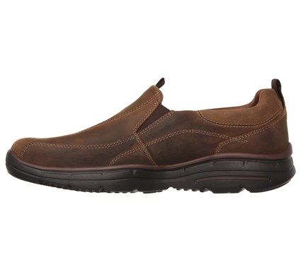 Skechers Mens Glides Docklands Memory Foam Relaxed Fit Slip On Shoes Dark Brown Leather  Memories Leather and Slip on shoe