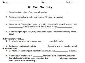 Bill Nye Electricity Video Worksheet   Bill nye, Bill nye ...