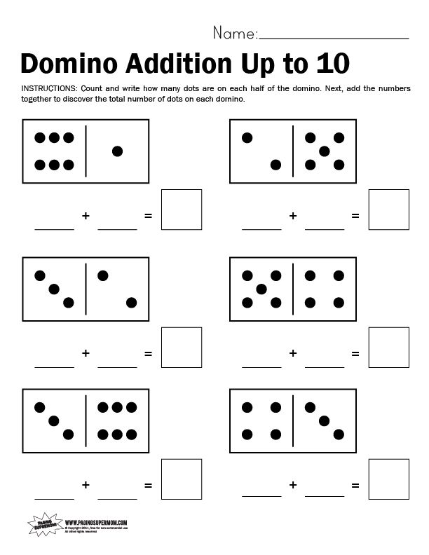 Domino Worksheet Adding Up To 10 Paging Supermom Addition Worksheets Math Worksheets Math Worksheet