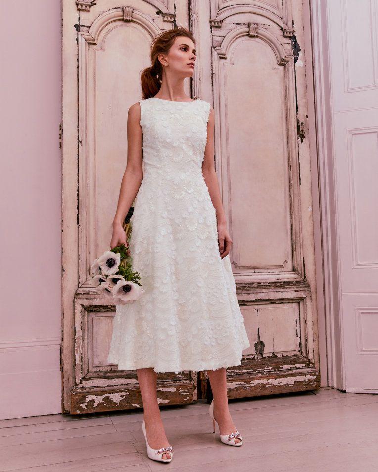 Lace Applique Midi Dress Ivory Dresses Ted Baker Uk Midi Wedding Dress Short Wedding Dress Civil Wedding Dresses