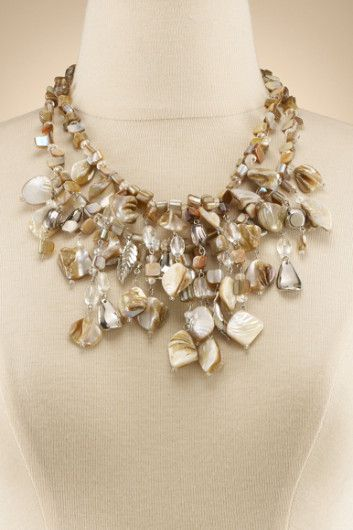 Seashore Finds Necklace - Bib Necklace, Mother Of Pearl Beads, Silver Charms | Soft Surroundings