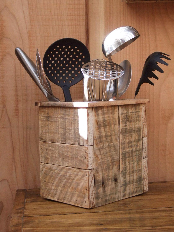 kitchen utensil caddy cabinet ikea rustic storage holder reclaimed wood