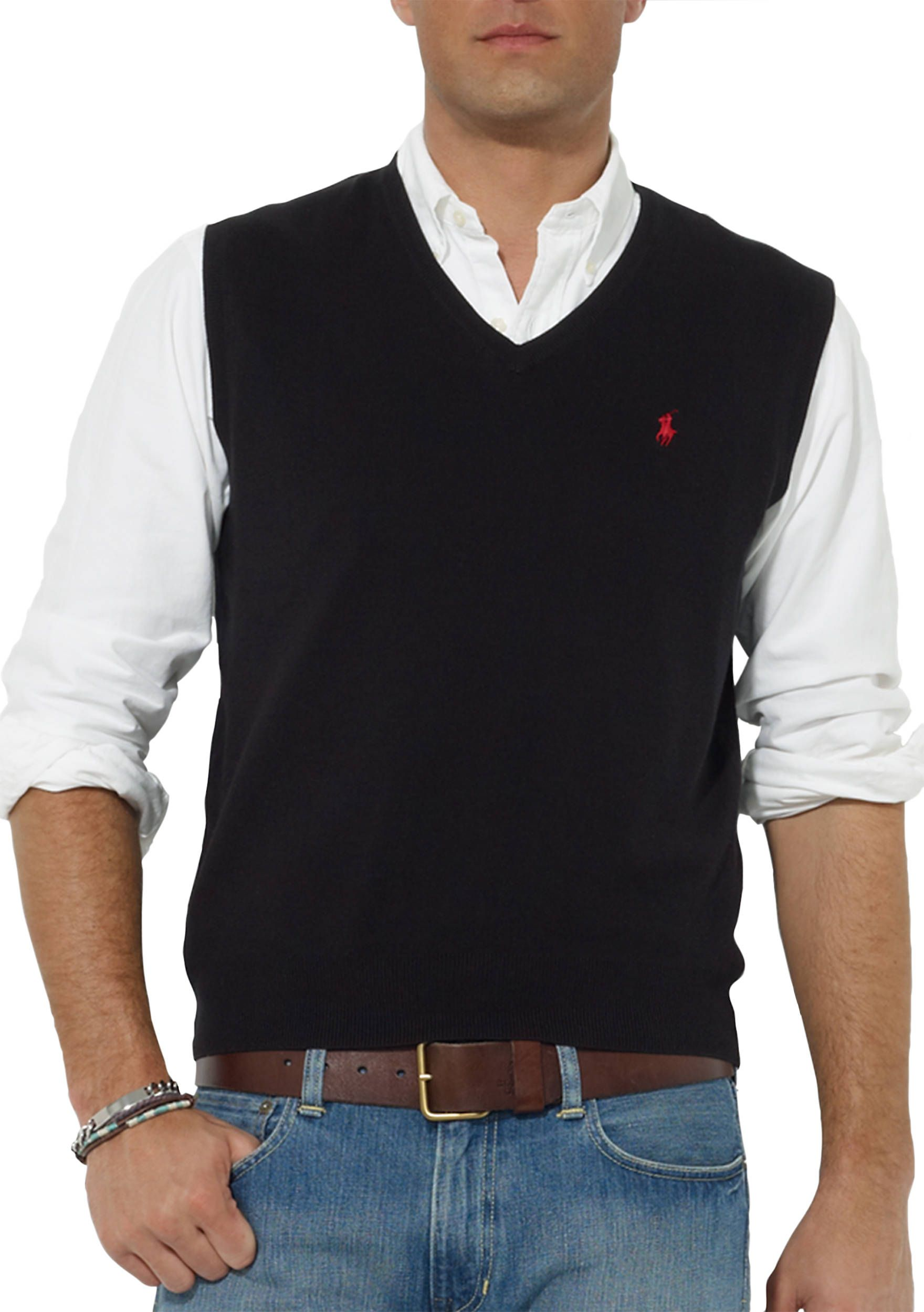 29352682d Polo Ralph Lauren Pima Cotton V-Neck Vest Black Men Young Men s Clothing  Sweaters  Black 3201602WPPIM34308Y