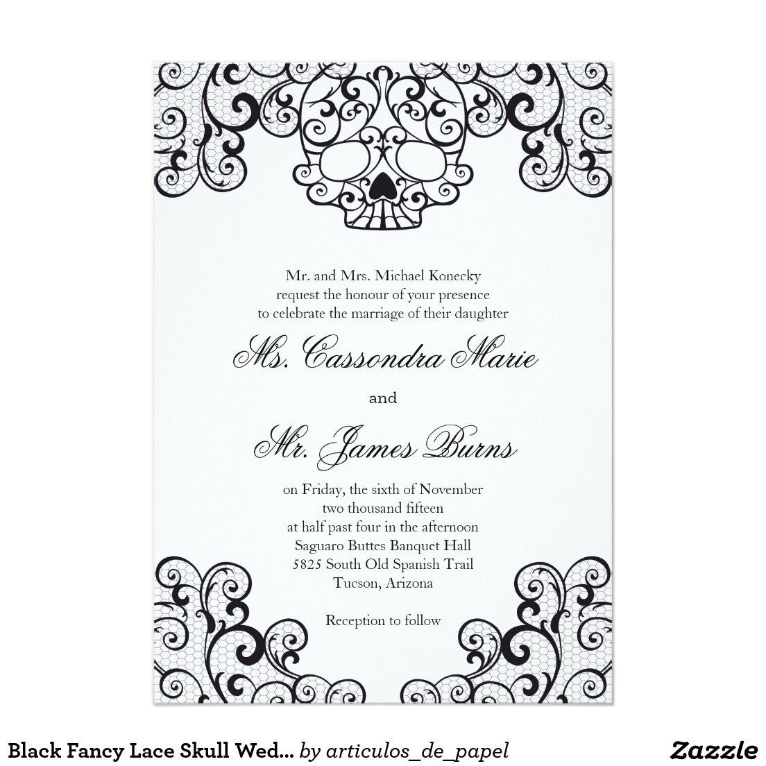 Black Fancy Lace Skull Wedding Invitation | Invitations | Pinterest ...