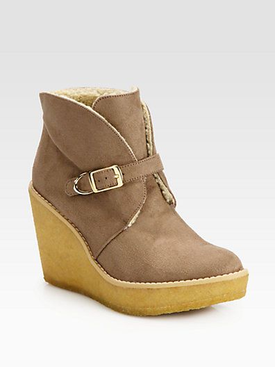 Stella McCartney - Faux Suede and Faux Shearling Wedge Ankle Boots - Saks.com