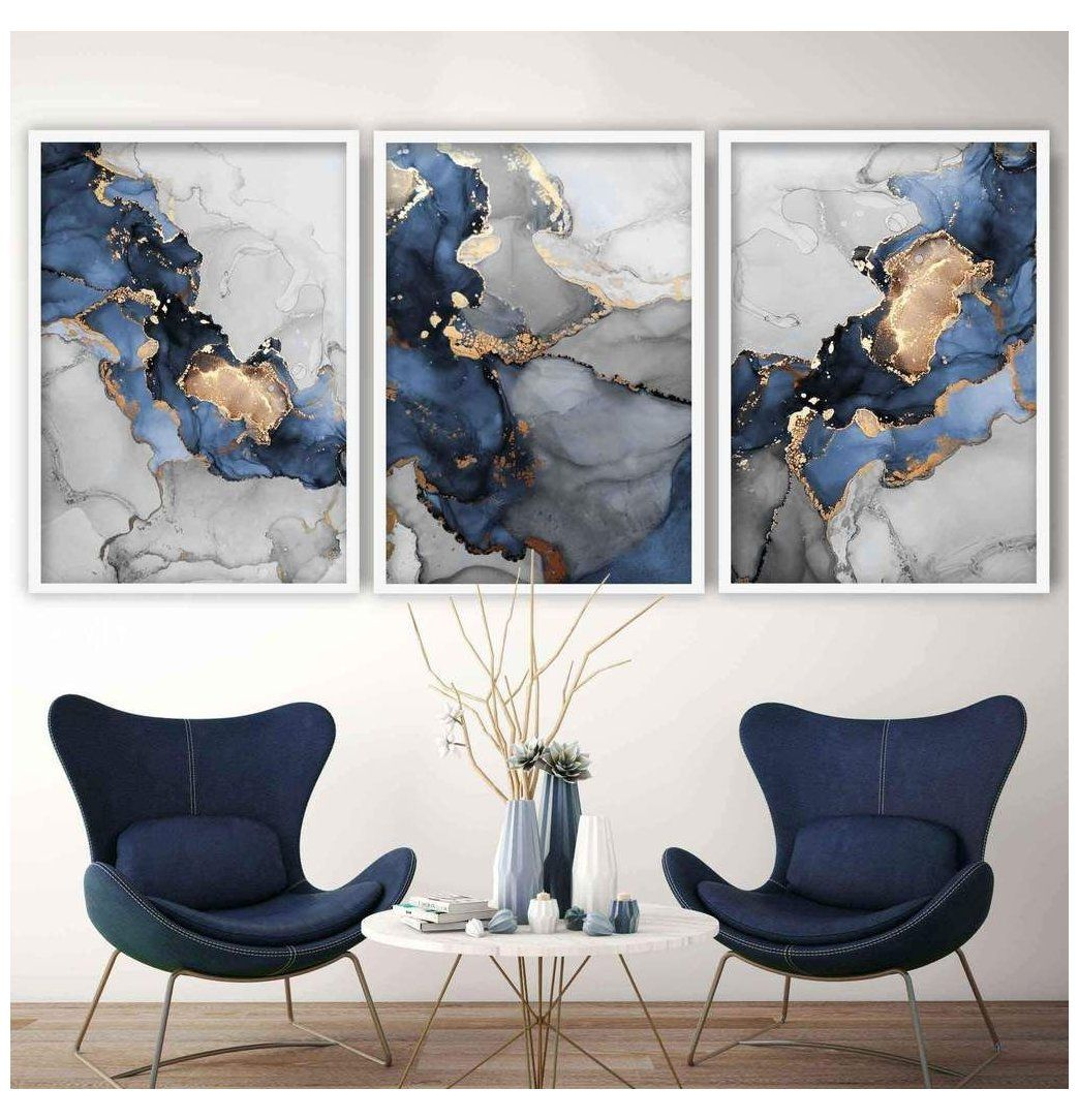 Set Of 3 Abstract Art Prints Of Paintings Navy Blue Grey And Gold Blue Abstract Wall Art Blu Blue And Gold Living Room Grey Wall Art Wall Art Living Room
