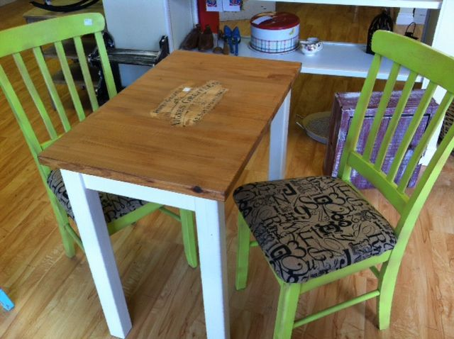Cool burlap covered lime green chairs with butcher block table and ...