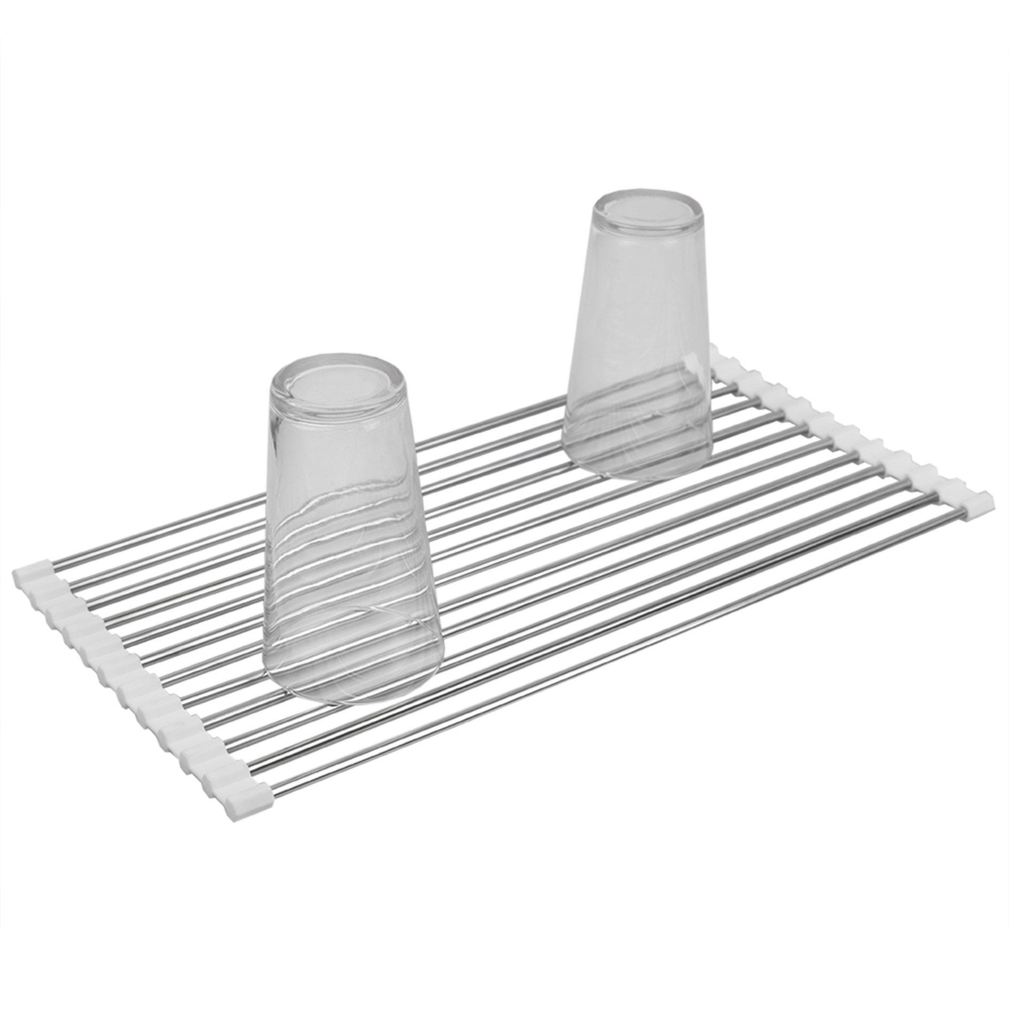 Home Basics Multi-Purpose Flexible Silicone and Stainless Steel Roll Up Dish Drying Rack, White