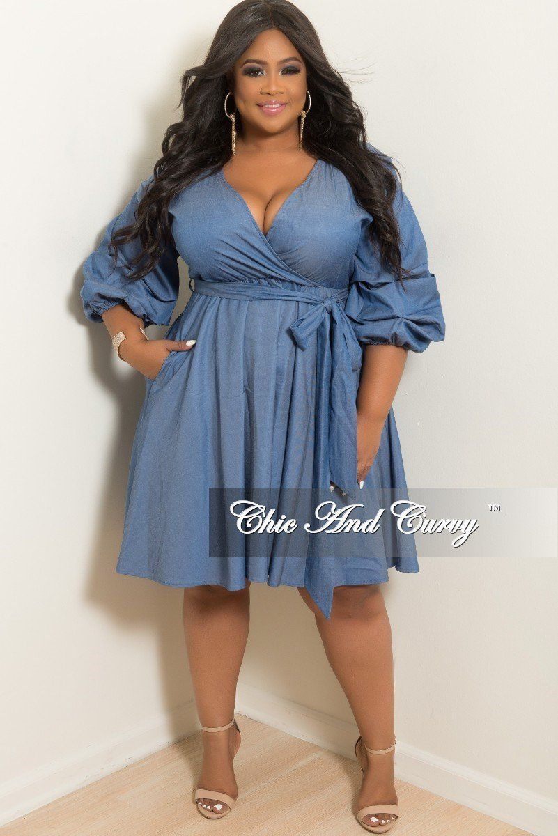 ef495d8c7e3 Plus Size Faux Wrap Short Dress with Puffy Sleeves and Attached Tie – Chic  And Curvy