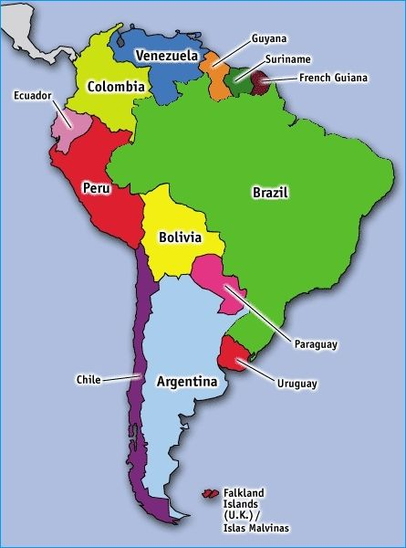 South American Countries Map pam and jeff in latin america map of ...