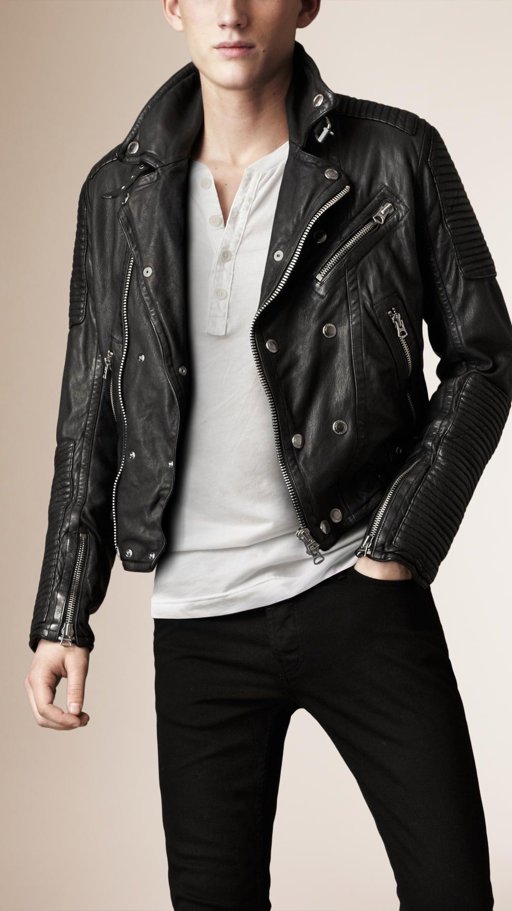 Quilted Panel Biker Jacket Jackets Men Fashion Black Leather Biker Jacket Leather Jacket Men [ 1849 x 1040 Pixel ]