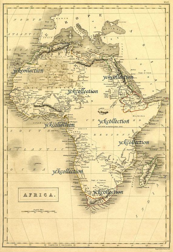 """Antique Africa Map (1840) ultra High Resolution 8"""" x 10"""" to 28"""" x 42"""