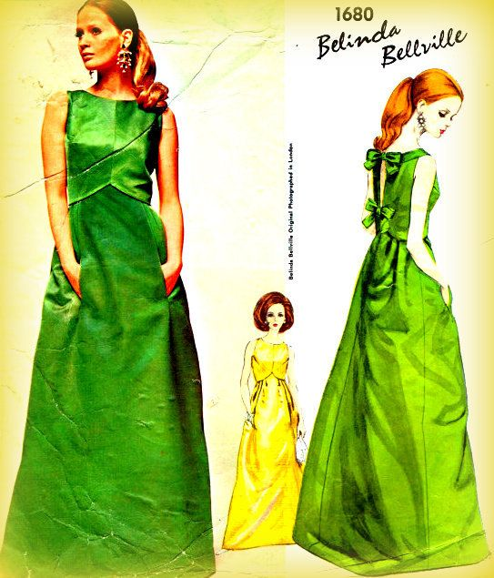 Vintage 1960s Vogue 1680 Evening Gown Sewing Pattern Couturier ...