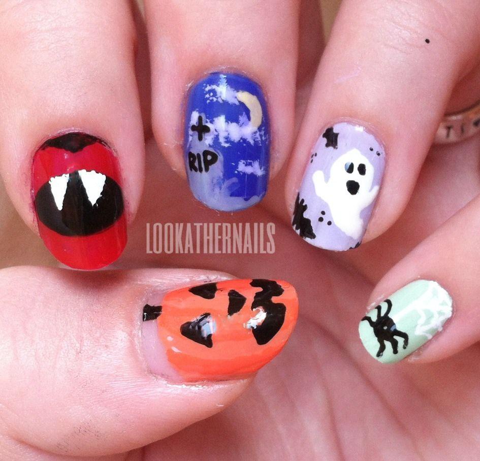 Halloween nail art! Pumpkin, Dracula, graveyard, ghost ...