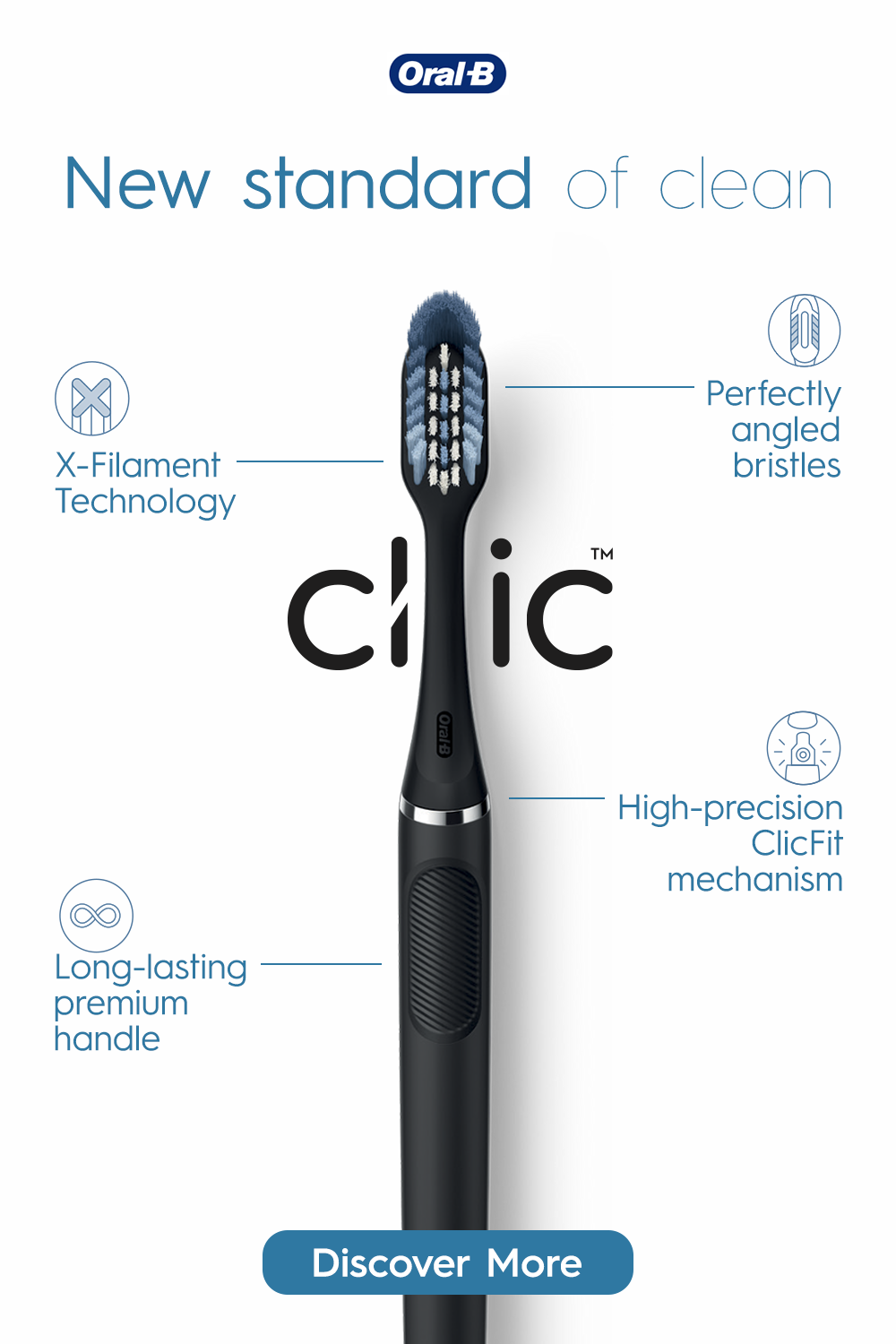 New Oral B Clic Features A Replaceable Brush Head In 2020 Brushing Teeth Oral B Manual Toothbrush