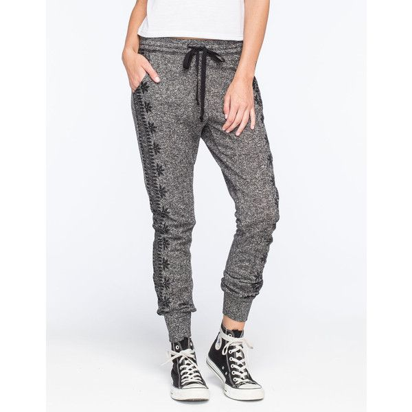 Full Tilt Side Print Marled Womens Jogger Pants ($20) ❤ liked on Polyvore  featuring