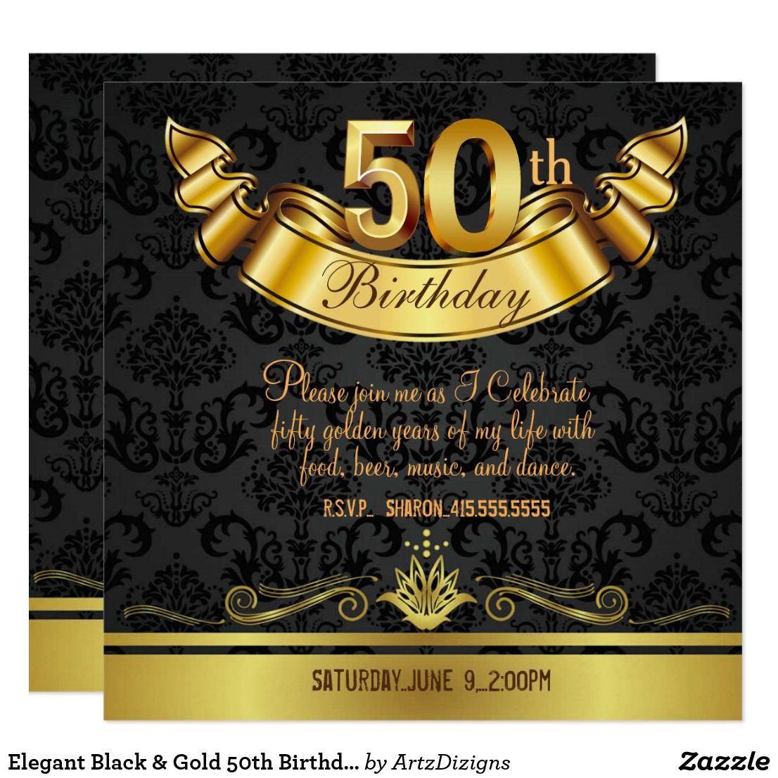 Elegant Black & Gold 50th Birthday Party Invitation   Zazzle.com   50th  birthday party invitations, 50th birthday party, Birthday party invitations