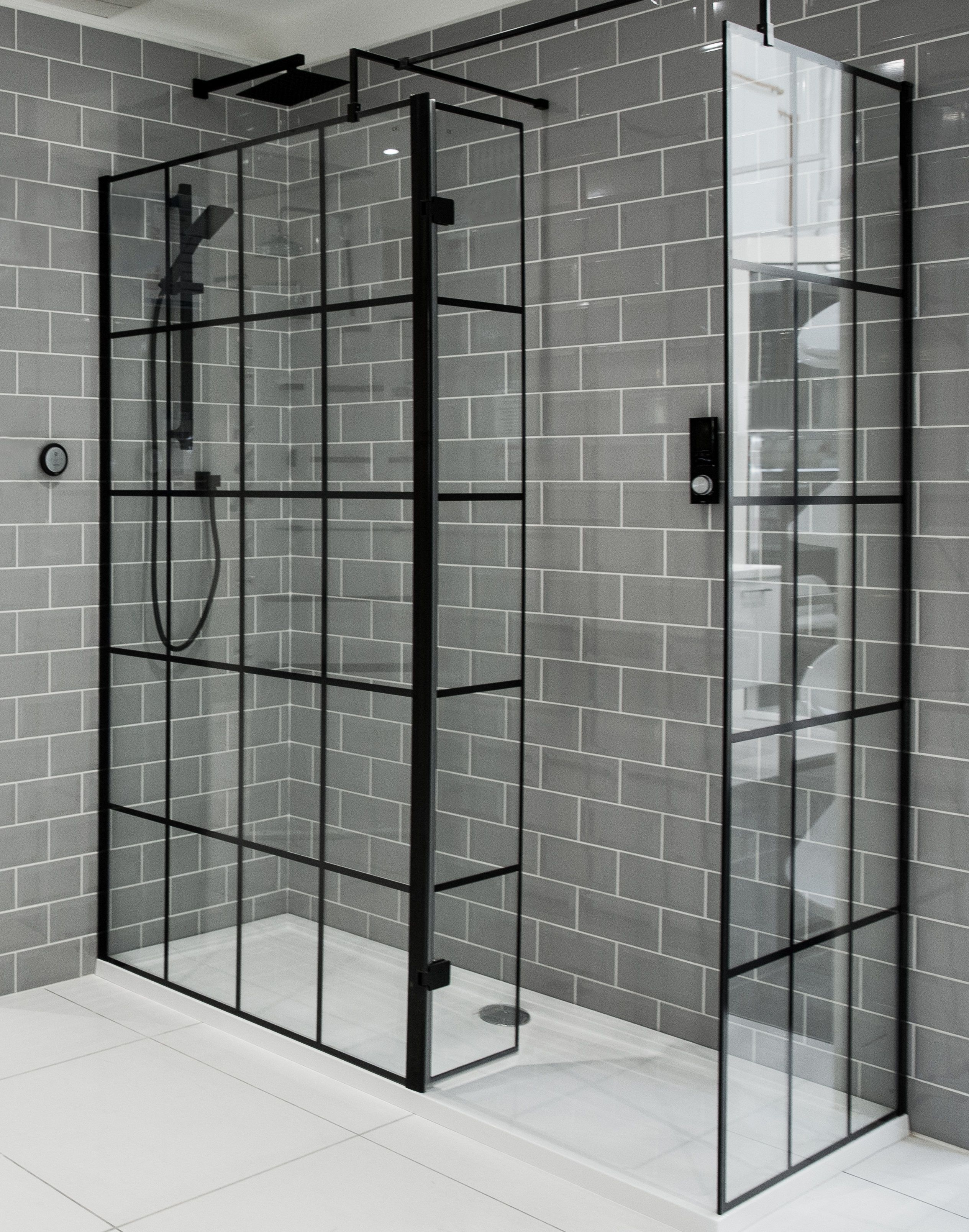 1950mm X 1200mm Walk In Black Framed Glass Shower Screen 8mm Black Tile Bathrooms Black Shower Doors Glass Shower