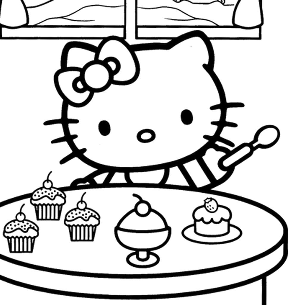 Hallo Kitty Christmas Make A Cake Coloring Page Hello Kitty