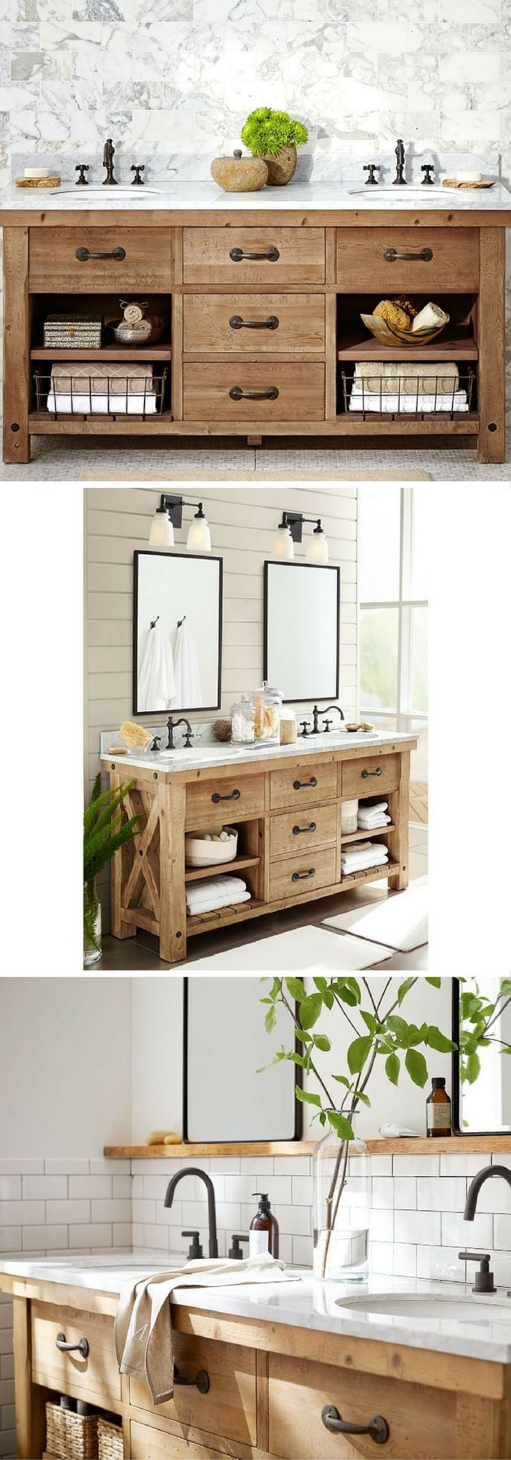 This industrial style sink console adds a rustic touch to - Industrial style bathroom vanities ...