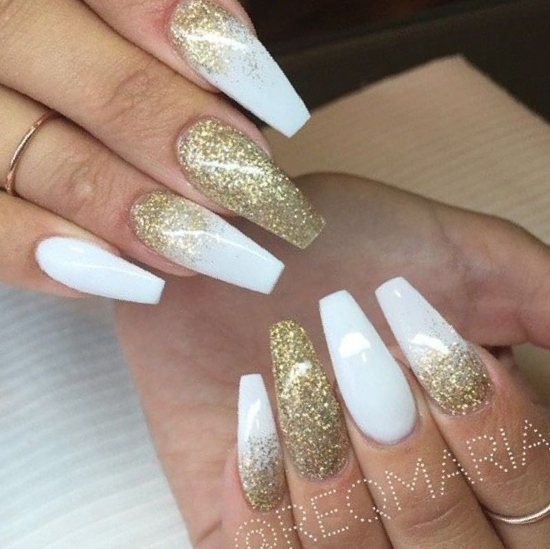 Bold And Stylish Elegant Long White Coffin Nail Ideas Gold Acrylic Nails Gold Nail Designs White Coffin Nails