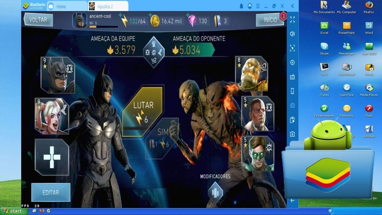 injustice 2 no BlueStacks (Emulador de Android) em 2020