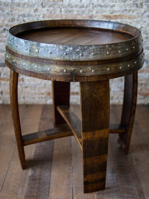 Handcrafted From A Recycled Napa Wine Barrel Our End Table Lends Rustic Beauty To Any Living E Weve Finished The Red Mahagony Stained Oak