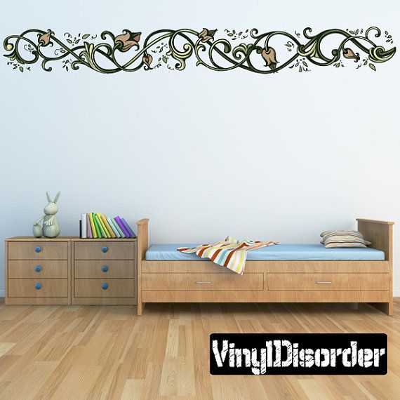 Floral frame wall decal wall fabric vinyl decal removable and reusable floralframeuscolor018et