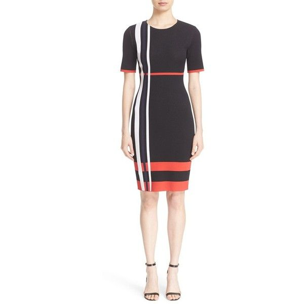 0aaad321 Women's St. John Collection Stripe Sculpture Jacquard Knit Dress (€945) ❤  liked on Polyvore featuring dresses, caviar multi, short sleeve knit dress,  ...