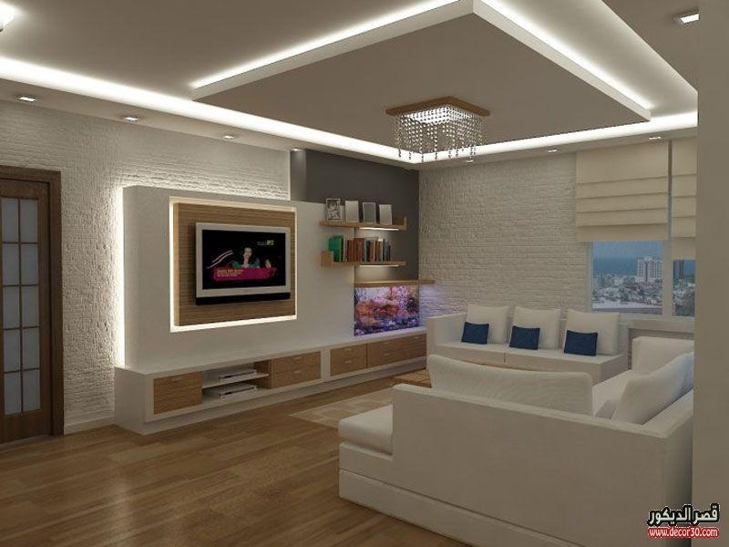 اشكال اسقف جبس بورد غرف وصالات وريسبشن متنوعة قصر الديكور Living Room Tv Unit Designs Gypsum Design Home Room Design