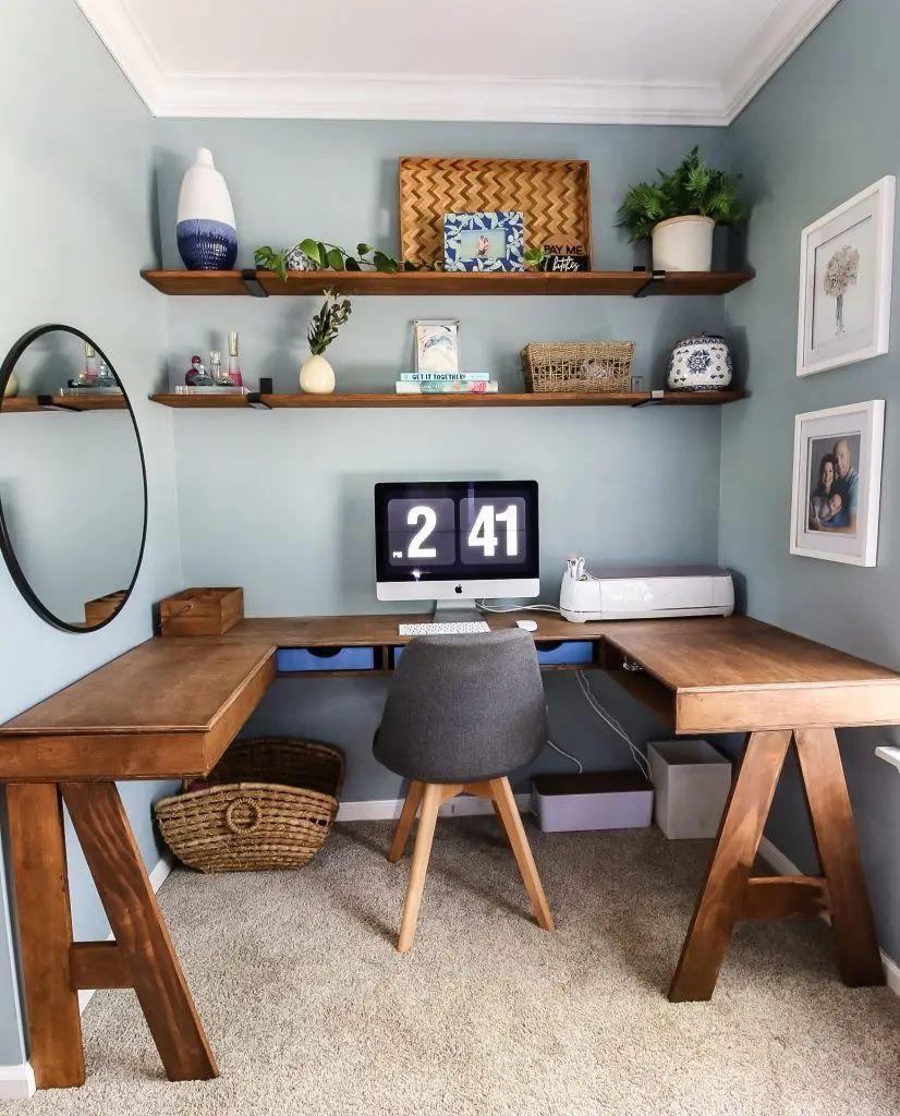Custom Homeoffice Desk: DIY Built-In U-Shaped Desk