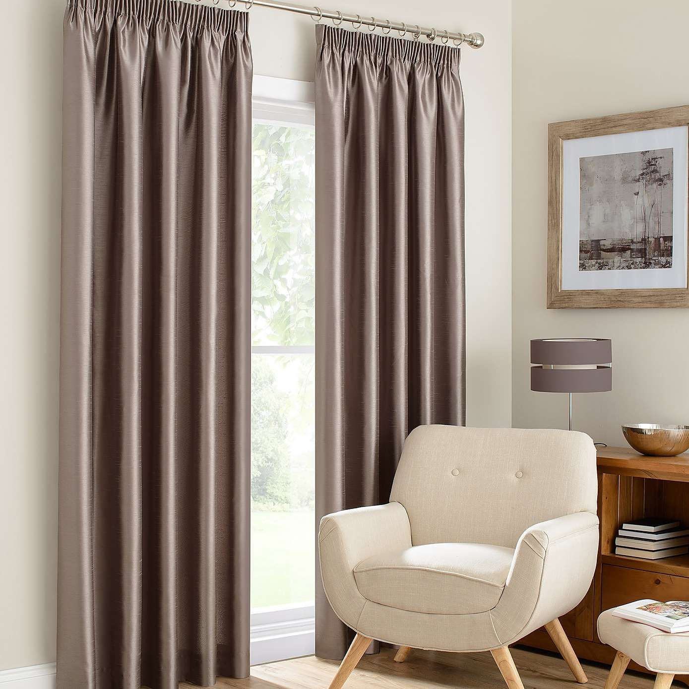 Montana Mink Lined Pencil Pleat Curtains Interiors