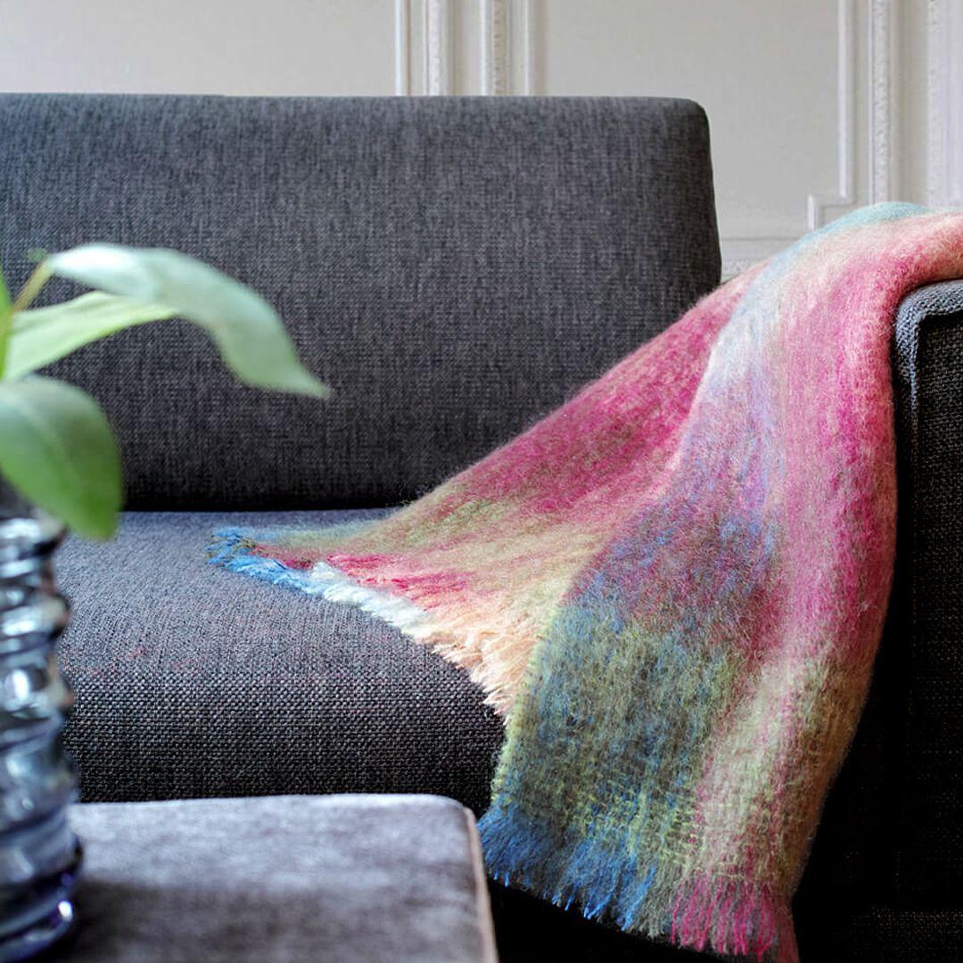 Wolldecke Kariert Grun Lila Blau Mohair Adriana With Images Blanket Throw Blanket
