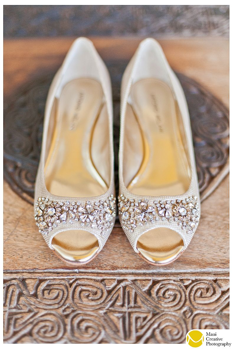 Love these jeweled champagne flats by Antonio