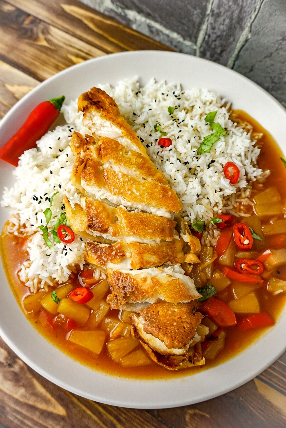 Photo of baked chicken breast fillet with sweet and sour sauce – high …