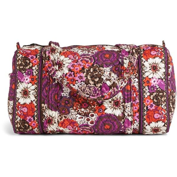 Vera Bradley Small Duffel Travel Bag in Rosewood ($68) ❤ liked on Polyvore featuring bags, luggage, rosewood, sale and travel
