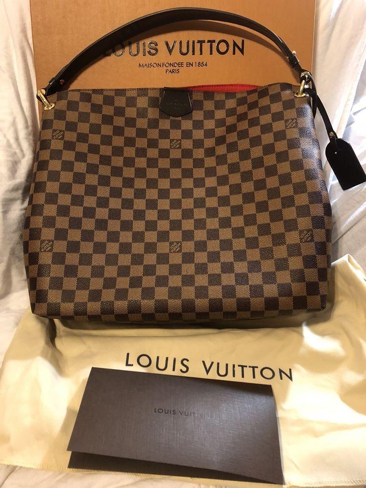 797ac3ddfbc0 Louis Vuitton Graceful MM Damier Ebene Hobo Bag Purse US SELLER EUC  authentic