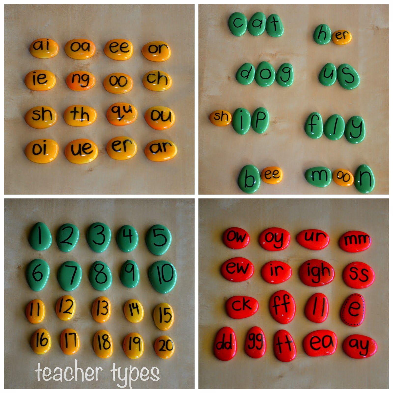 Teacher Types Alphabet Pebbles