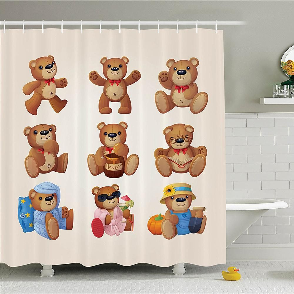 Shower Curtain Set Set Of Cute Happy Teddy Bears With Funny