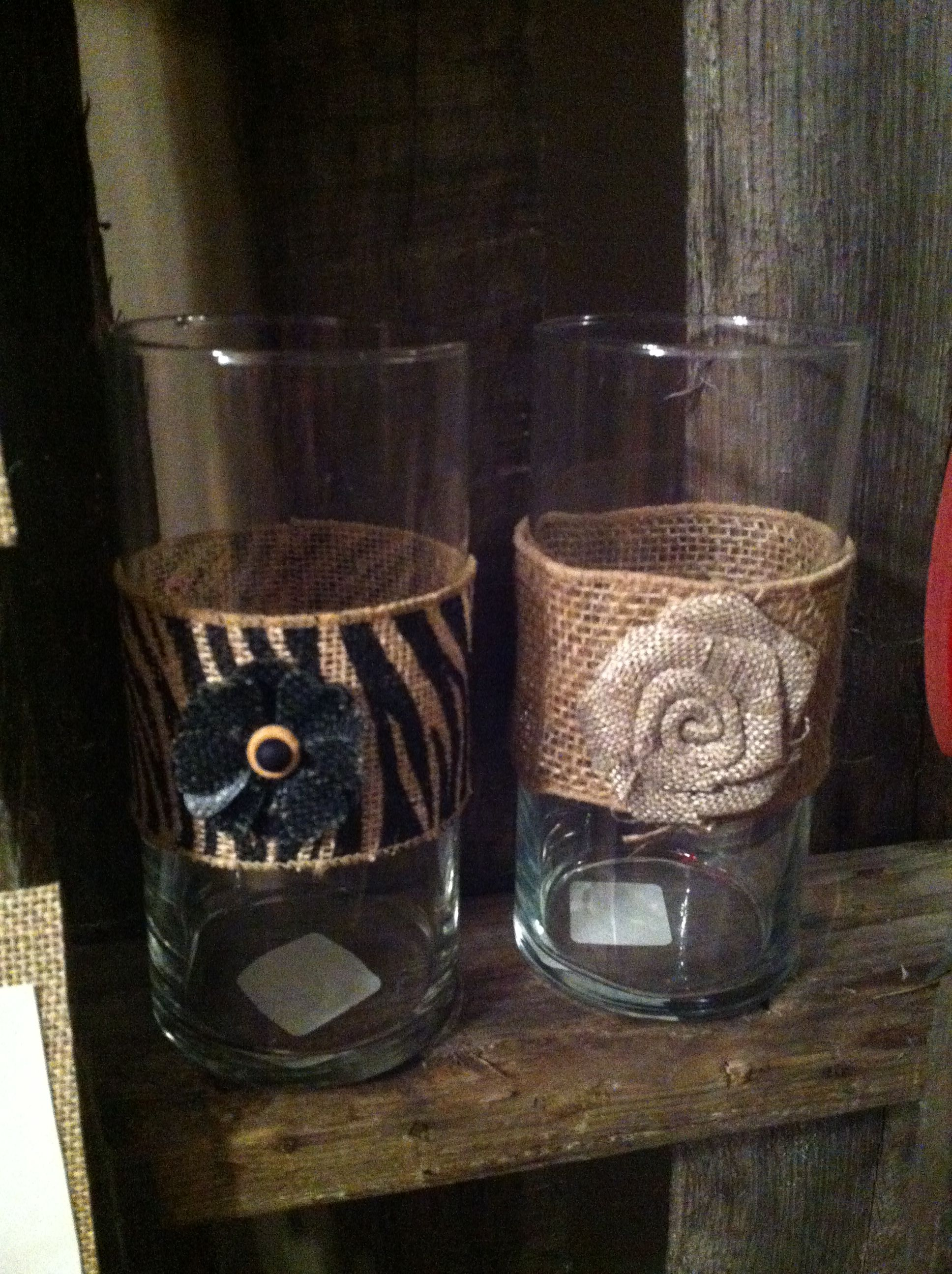 Burlap ribbon and flower added to a glass jar dollar tree