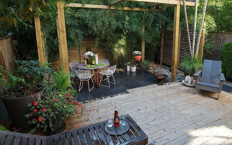 Kleiner Garten Im Hinterhof Bambus Als Sichtschutz Und