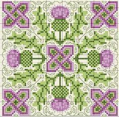 Scottish thistle biscornu cross stitch freebie