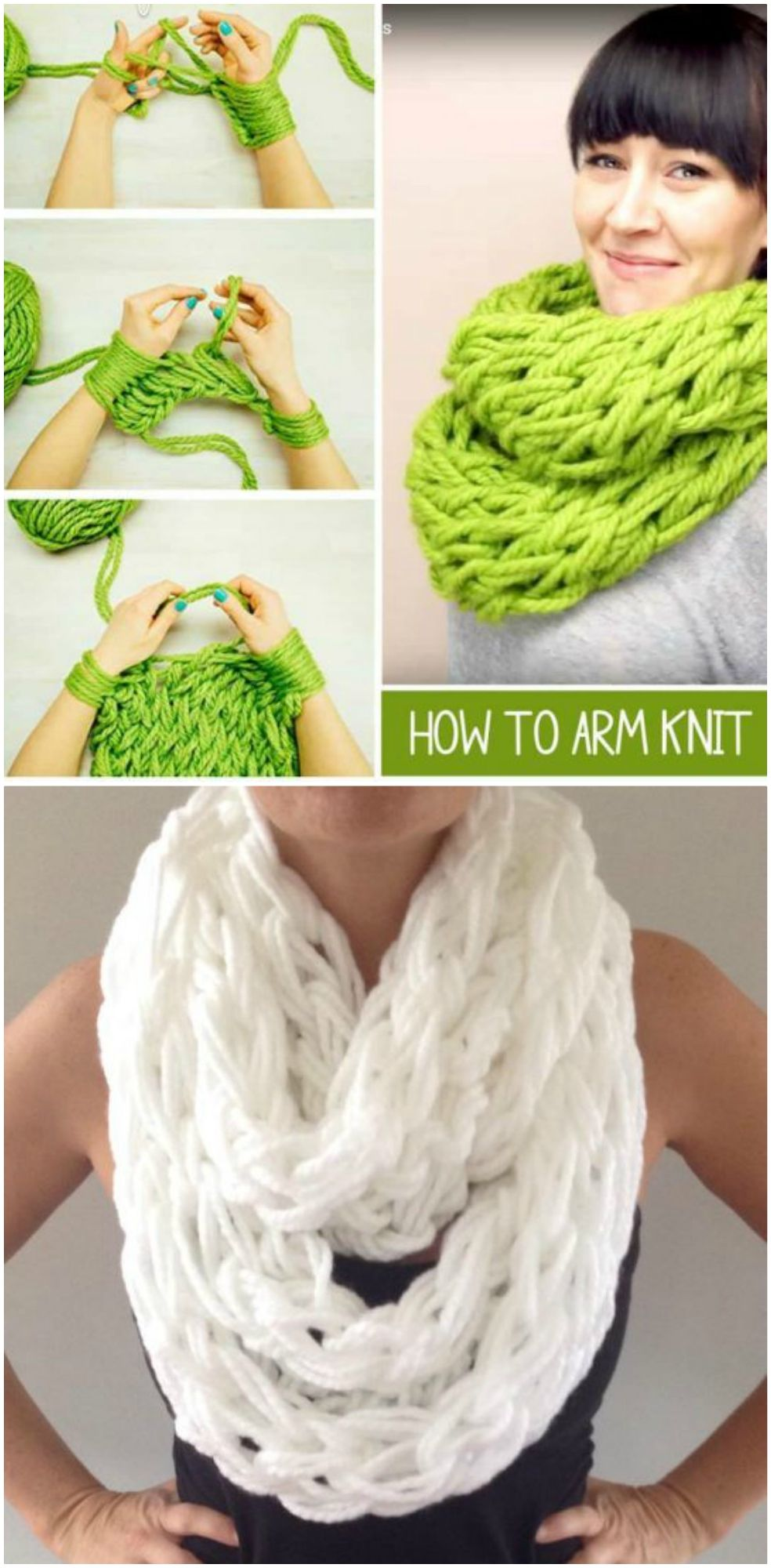 This Arm Knit Scarf Step By Step Tutorial comes with video instructions and is ready in 30 short minutes. You are going to love this project.