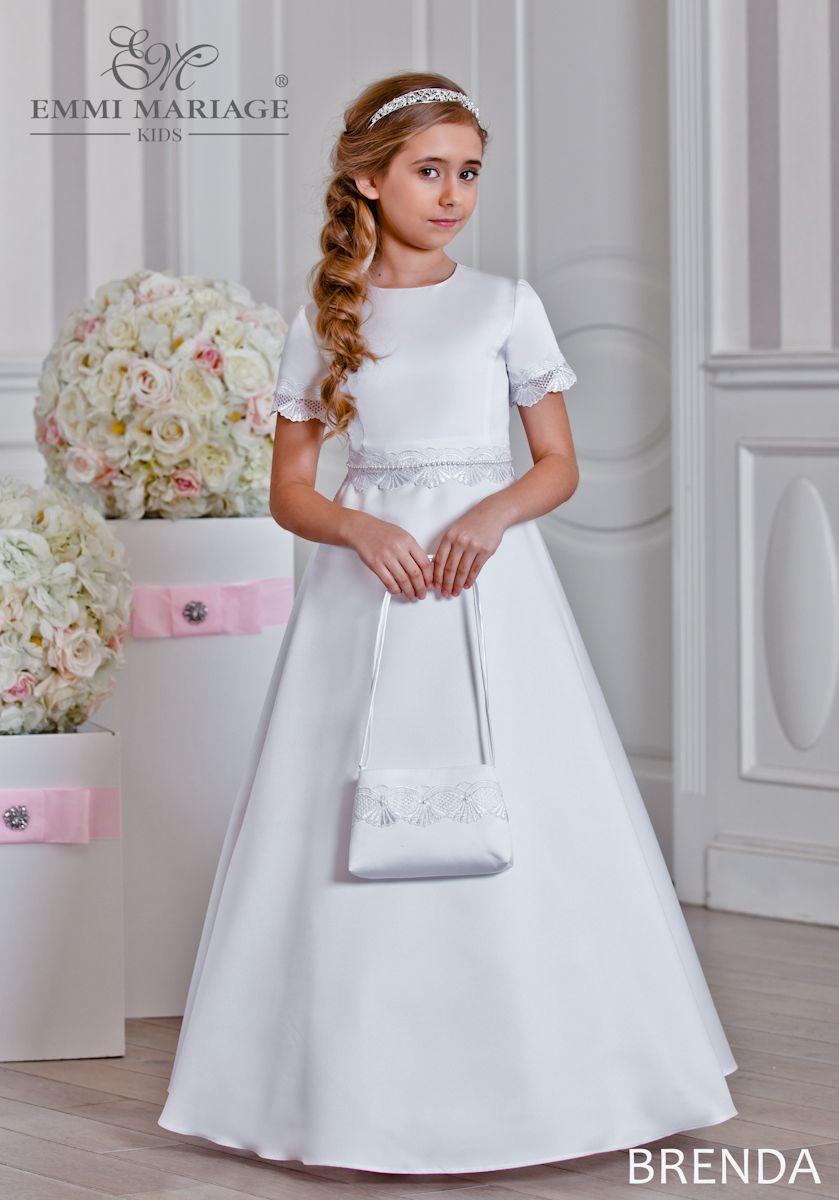 679143609e Klasyczna suknia komunijna BRENDA - prosta z eleganckimi wykończeniami.   suknia  komunijna  komunia