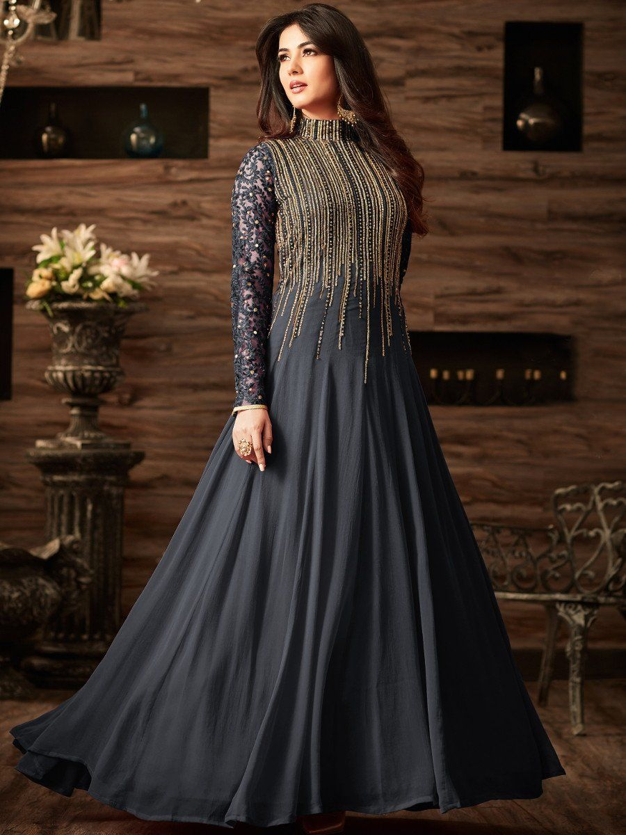 7dd0a5a718 Sonal chauhan Dark Grey color net anarkali 4806 Frock Fashion, Girl Fashion,  Oriental Dress