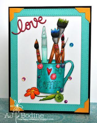 RutabagaPie Designs: Coffee Loving Card Makers Blog Hop ~ Summer 2015 -..Digi Image by Cottage Remnants - Etsy Shop